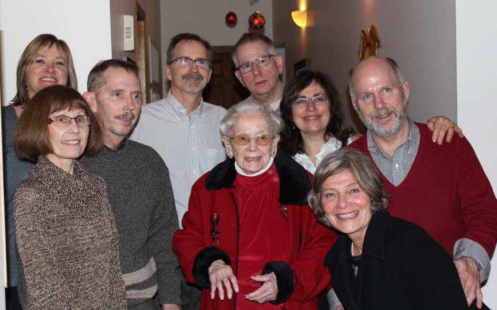 Ruth with four sons and their significant others at Christmas 2014