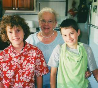 Ruth with grandsons Colin (Hugh's son) and Sam (Scott's son) in about 2003.