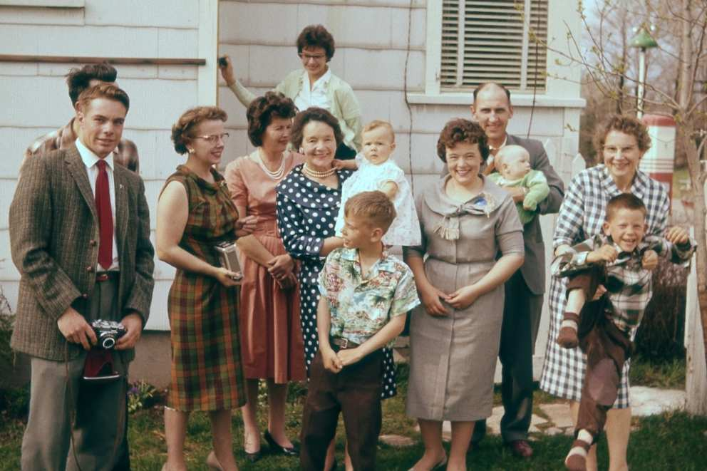 Ruth and family in the 60s. Ruth is second from the left. Next to her is Fances Donovan then Gaye's mother from New Zealand holding baby Lynn. Don Sinclair is in the front and Mary is holding Ron to the right. Jim is holding baby Scott and Mary Carol is in the back.