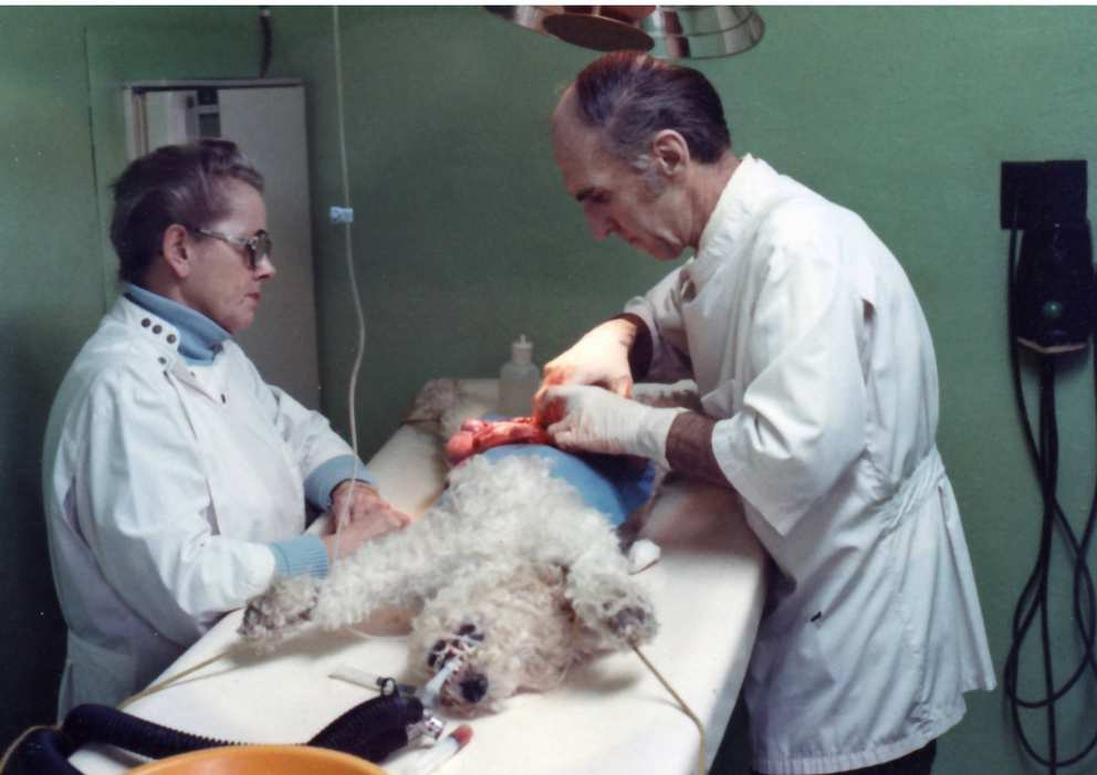Ruth and Jim performing surgery at the clinic in 1983