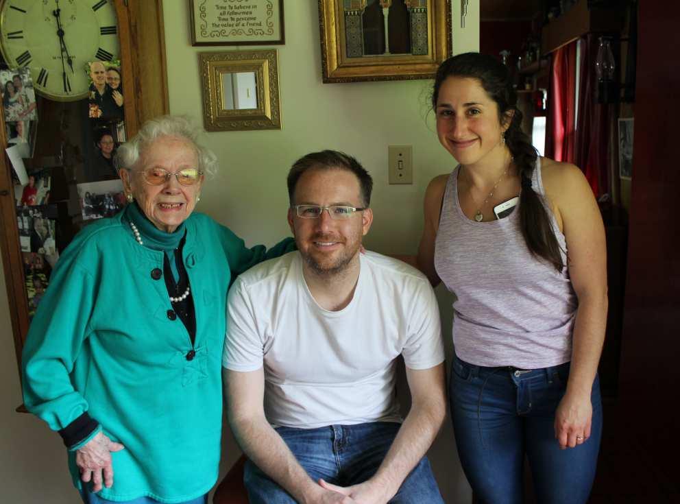 Ruth with grandchildren Neil (Ron's son) Rebecca (Scott's daughter)