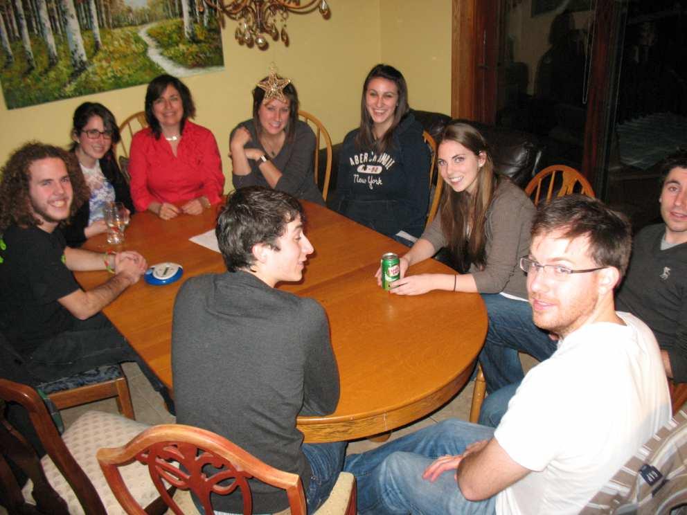 Ruth's grandchildren from left going clockwise Collin, Rebecca, (daughter-in-law Jennifer), Carlee, Jaclyn, (Luke's friend Sarah), Luke, Neil and Sam.
