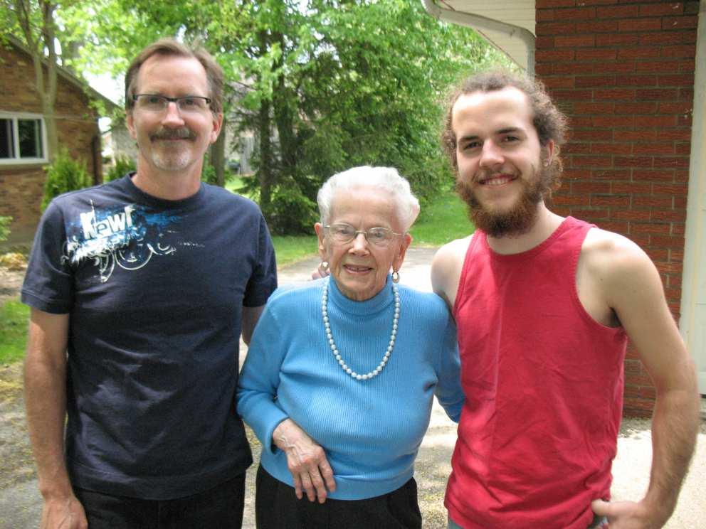 Ruth's son Scott, Ruth and grandson Colin (Hugh's son)